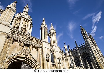 CAMBRIDGE, UK - JULY 18TH 2016: A view of the magnificent Gate House and Chapel of Kings College in Cambridge, on 18th July 2016.