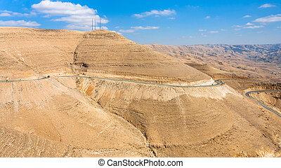 King's highway in mountain in winter, Jordan - Travel to...