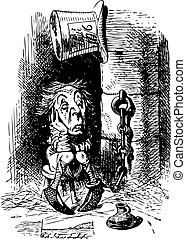 King's Messenger in Prison - Through the Looking Glass and what Alice Found There original book engraving