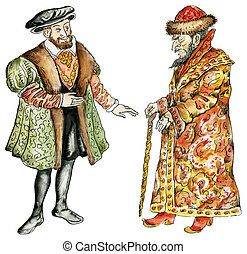 Kings of Russia and France in16th century costumes