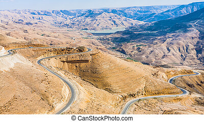 King's road in mountain near Al Mujib dam, Jordan