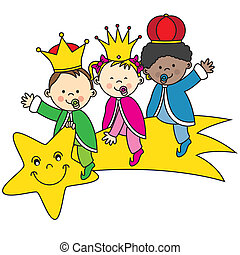kings sitting on a shooting star