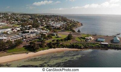 Kingscote Jetty and city skyline, aerial view of Kangaroo Island