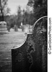 Old headstones mark graves at an cemetery in Kingston, New Jersey