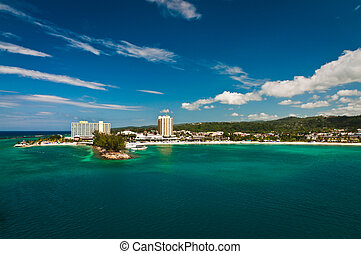 Tourist side of Kingston, Jamaica viewed from the water