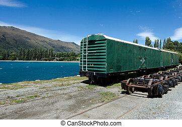 KINGSTON, NZ - JAN 15:An old train car in Kingston on lake Wakatipu on Jan 15 2014. It's the home of the vintage steam train Kingston Flyer.