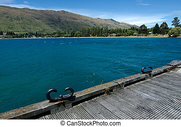 Kingston old pier on lake Wakatipu in the south Island, New Zealand.