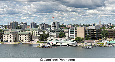 View of Kingston, Ontario, Canada. Kingston is a Canadian city located in Eastern Ontario where the St. Lawrence River flows out of Lake Ontario.