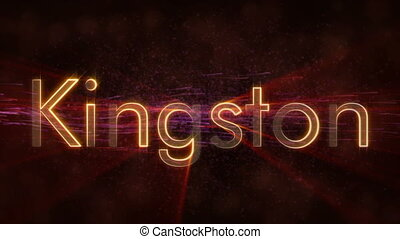 Kingston - Shiny looping city name in Jamaica, text...