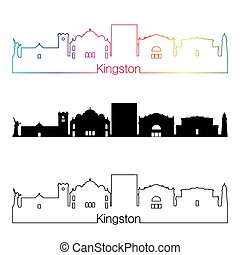 Kingston skyline linear style with rainbow