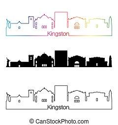 kingston, sylwetka na tle nieba, linearny, styl, z, tęcza