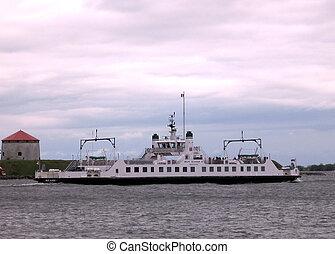 Tourist ship on lake Ontario near mooring Kingston, Canada