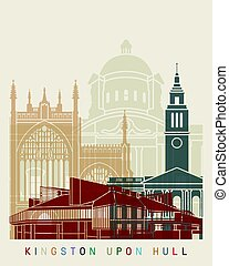 Kingston Upon Hull skyline posterin editable vector file