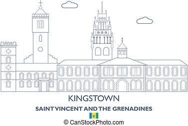 Kingstown City Skyline, Saint Vincent and the Grenadines -...
