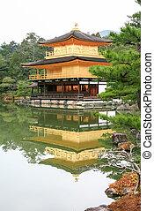 kinkakuji, 寺廟, (the, 黃金的亭子