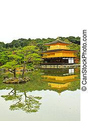 kinkakuji, 寺廟, (the, 黃金, pavilion), 在, 京都, 日本