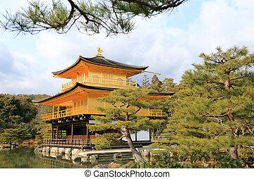 kinkakuji, 寺廟, (the, 黃金, pavilion)