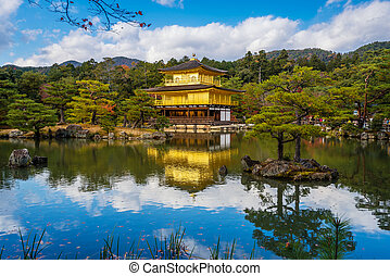 Kinkakuji Temple (The Golden Pavilion) with autumn maple in Kyoto