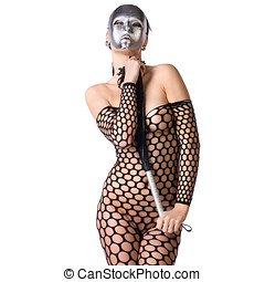 kinky woman with mask - beautiful nude or naked woman...