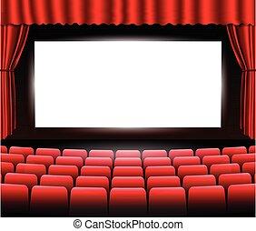 kino, albo, teatr, scena, z, niejaki, curtain., vector.
