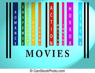 kino, barcode, słowo, barwny