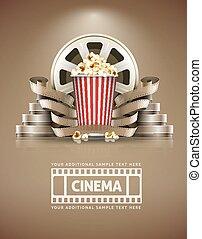 kino, begriff, mit, popcorn, und, cinefilms, retro stil