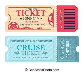 kino, fahrschein, segeltörn, coupon, vektor, illustrationen