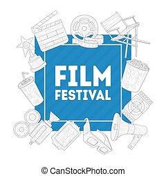 kino, fest, industriebereiche, inematography, produktion, abbildung, vektor, werbung, weisen, banner, film, schablone