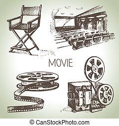 kino, film, set., hand, weinlese, illustrationen, gezeichnet