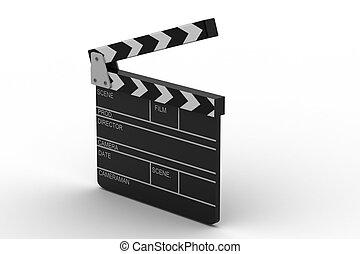 kino, ilustracja, 3d, clapboar