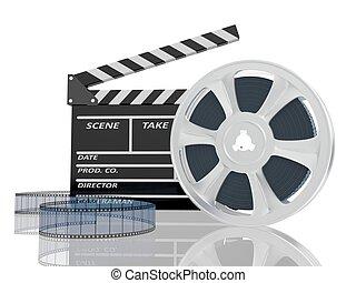 kino, ilustracja, ekranizować cewkę, klepać, 3d
