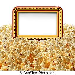 kino, popcorn, zeichen