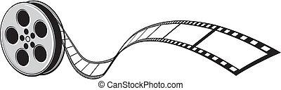 kino, projektor, film- streifen