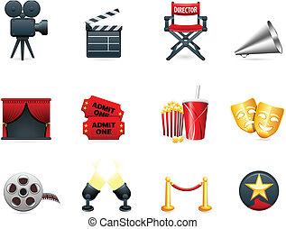 kino, przemysł, film, zbiór, ikona