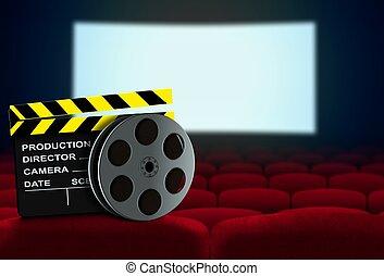 kino, sitz, mit, clapperboard, und, spule super 8, flachdrehen, kinoleinwand