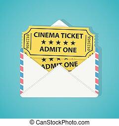 kino, weinlese, briefkuvert, zwei, tickets., weißes