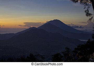 Kintamani, Bali. View of sunrise over mountain