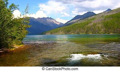 kintla, flüßchen, nationalpark gletschers