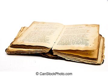 kinyitott, öreg, antik, könyv, elszigetelt