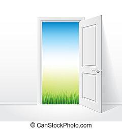 kinyitott, fehér, ajtó, és, természet, vektor, ábra