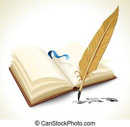 kinyitott, könyv, noha, tinta, tollazat, szerszám