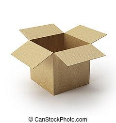 kinyitott, kartondoboz, doboz, .