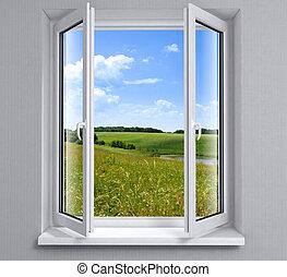 kinyitott, műanyag, ablak