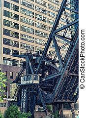 kinzie, chemin fer, rue, pont, chicago