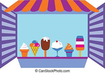 kiosk, dat, het verkopen, ijsje romen