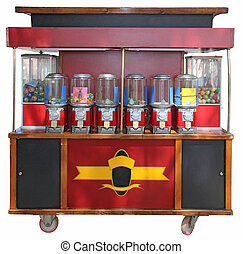 Kiosk with candies - Red kiosks with colorful candies ...