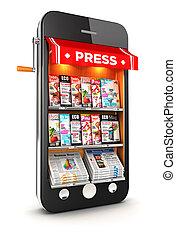 kiosque, smartphone, 3d