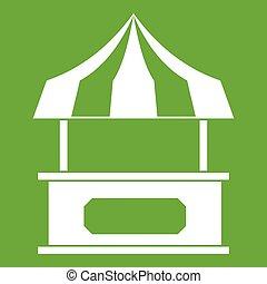 kiosque, vert, marquise, rayé, magasin, icône
