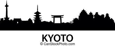 kioto, sylwetka na tle nieba