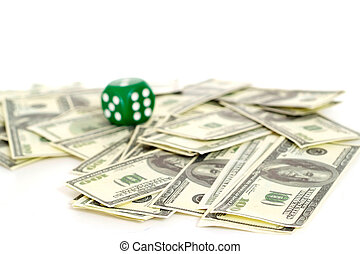 Kip dollars and green dice - Kip dollars and dice on a white...